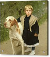 Young Child And A Big Dog Acrylic Print