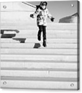 Young Child Jumping Down Steps Acrylic Print
