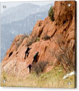 Young Climber In Red Rock Canyon Acrylic Print