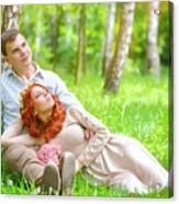 Young Couple In The Park Acrylic Print