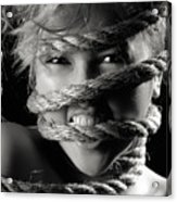 Young Expressive Woman Tied In Ropes Acrylic Print