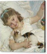 Young Girl And Cat Acrylic Print