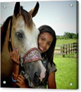 Young Girl And Her Horse Acrylic Print