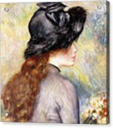 Young Girl Holding A Bouquet Of Tulips, Acrylic Print