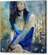 Young Girl In Blue Acrylic Print