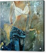 Young Girl In Jeans  Acrylic Print