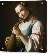 Young Girl Playing Musical Instrument Acrylic Print