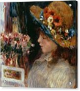 Young Girl Reading Acrylic Print by Pierre Auguste Renoir