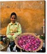 Young Girl Selling Rose Petals In The Medina Of Fes Morroco Acrylic Print
