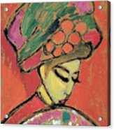 Young Girl With A Flowered Hat By Alexei Jawlensky Acrylic Print