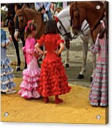 Young Girls In Flamenco Dresses Looking At Horses At The April F Acrylic Print