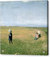 Young Girls Picking Flowers In A Meadow Acrylic Print