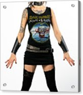Young Heavy Metal Female Punk Fan Standing Tall With Horns Pierc Acrylic Print