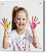 Young Kid Showing Her Colorful Hands Acrylic Print