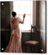 Young Lady In Pink Gown Looking Out Window Acrylic Print