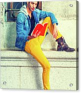 Young Man Reading Red Book, Sitting On Street Acrylic Print