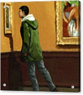 Young Man Viewing Art - Painting Acrylic Print