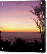 Young Men Silhouette Taking Photos About Landscape Outdoor  Acrylic Print