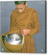 Young Monk Begging Alms And Rice, Thailand Acrylic Print