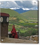 Young Monk Looking Over His Shoulder Acrylic Print