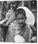 Young Monks 2 Bw Acrylic Print