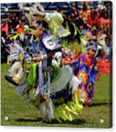 Young Native Indian  Boys Dancing In Tiny Tots Competition At A  Acrylic Print