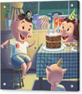 Young Pig Birthday Party Acrylic Print by Martin Davey
