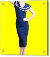Young Retro Pinup Girl Wearing Sailor Uniform Acrylic Print