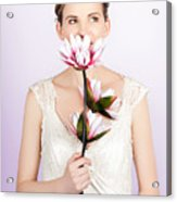 Young Romantic Woman With Lotus Flowers Acrylic Print
