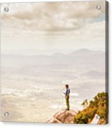 Young Traveler Looking At Mountain Landscape Acrylic Print