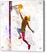 Young Woman Basketball Player 04 In Watercolor Acrylic Print