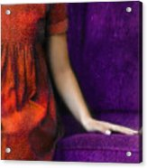 Young Woman In Red On Purple Couch Acrylic Print by Jill Battaglia