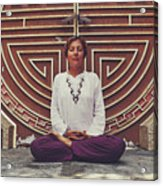 Young Woman Sitting And Meditating In A Lotus Position In Front Of A Unique Doors Acrylic Print