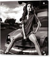 Young Woman Sitting On A Crashed Car Acrylic Print