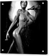 Young Woman With Champagne Acrylic Print
