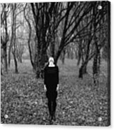 Young Woman With Her Head Tilted Back While Standing In A Forest Acrylic Print