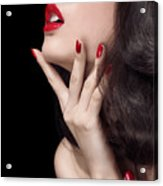 Young Woman With Red Lipstick Sensual Closeup Of Mouth Acrylic Print