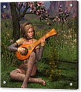 Young Women Playing The Lute Acrylic Print