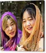 Young Women Silk Scarves 01 Acrylic Print