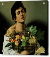 Youth With A Basket Of Fruit Acrylic Print by Michelangelo Merisi da Caravaggio