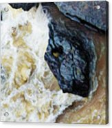 Yuba Blue Boulder In Stormy Waters Acrylic Print