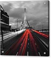 Zakim Bridge And Td Garden Boston Ma Red Tail Lights Acrylic Print