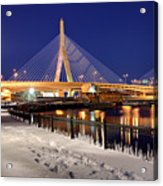 Zakim Bridge In Winter Acrylic Print