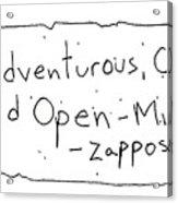 Zappos Core Value Acrylic Print