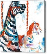 Zebra Gets A Ride The Ocean City Boardwalk Carousel Acrylic Print