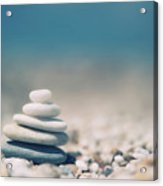 Zen Balanced Pebbles At Beach Acrylic Print by Alexandre Fundone