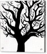 Zen Sumi Tree Of Life Enhanced Black Ink On Canvas By Ricardos Acrylic Print