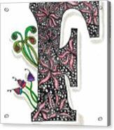 Zentangle Inspired F #1 Acrylic Print