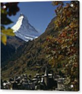 Zermatt Village With The Matterhorn Acrylic Print by Thomas J. Abercrombie