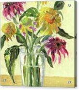 Zinnias In Vase Acrylic Print